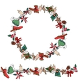 Round Christmas wreath with decoration vector image vector image
