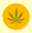 round icon green cannabis leaf symbol vector image vector image