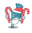 santa with candy pastrybag mascot cartoon style vector image vector image