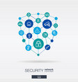 security access control integrated thin line vector image vector image