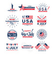 set 4th july greeting vector image