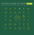 set food and drinks icons for restaurant vector image vector image