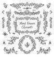 set hand drawn dividers floral decor vector image vector image