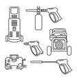 set of pressure washer machine electric with vector image