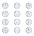 set round clocks with various time vector image vector image