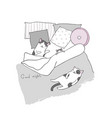 sleeping cats in bed vector image vector image