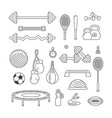 Sports equipment linear icons set fitness