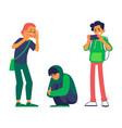 teen man makes photo of bullied teen vector image vector image