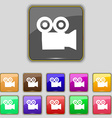 video camera icon sign Set with eleven colored vector image vector image