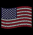 waving american flag stylization of fire flame vector image vector image