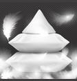white realistic pillows and flying feathers vector image
