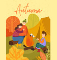 young family enjoying a camping holiday in fall or vector image