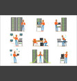 young man working in network server room vector image