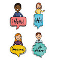 young people and speech bubbles with messages vector image vector image
