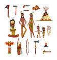 native american indians and traditional clothes vector image