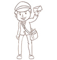 A simple drawing of a postman vector image vector image