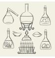 Alchemical vessels or vintage lab equipment vector image vector image