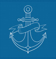 anchor with ribbon banner outline drawing hand vector image vector image