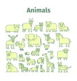 Animals line icons with strokes vector image