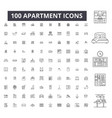 apartment editable line icons 100 set vector image vector image