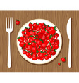 apples on plate vector image