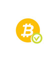 approved bitcoin payment icon on white vector image vector image