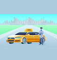 artificial intelligence taxi with robot driver vector image vector image