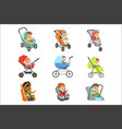 baby carriage set children transport colorful vector image vector image