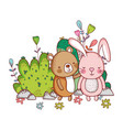 bear and bunny forest cartoons vector image vector image