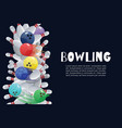 bowling colorful balls crashing into white vector image vector image