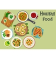 Breakfast dishes icon for healty menu design vector image vector image