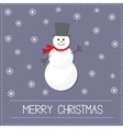 Cartoon Snowman and snowflakes Violet background vector image