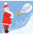 Christmas card with santa and town vector image
