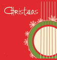 christmas guitar red poster old background vector image vector image
