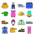 Colored baby clothes icons set