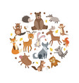cute wild forest animals pattern round shape vector image vector image