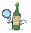 detective wine bottle character cartoon vector image