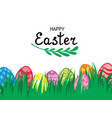 easter card with decorative eggs on green grass vector image vector image