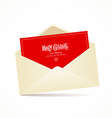 Envelope and red card merry christmas vector image