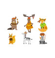 ethnic patterned animals set horse beaver vector image vector image
