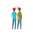 gay couple lgbt men in love back view cartoon vector image vector image
