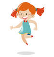 girl with red hair jumping vector image