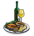 grilled salmon and wine vector image vector image