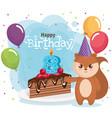 happy birthday card with chipmunk vector image