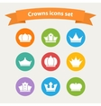 icons set of different white crowns shapessigns vector image vector image