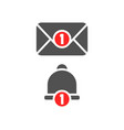 inbox new message and notification bell icon grey vector image
