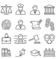 justice law lawyer and court icon set vector image