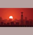 lisbon low sun skyline scene vector image vector image