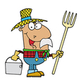 Male Hispanic Farmer Carrying A Rake And Pail vector image vector image