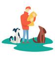 man feeding homeless pets volunteer charity and vector image